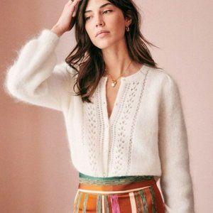 Sezane Egide Jumper Sweater Ivory Ecru Wool Mohair